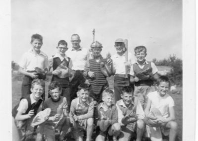 Clive Butterworth and a youth baseball team in Tramore, 1958